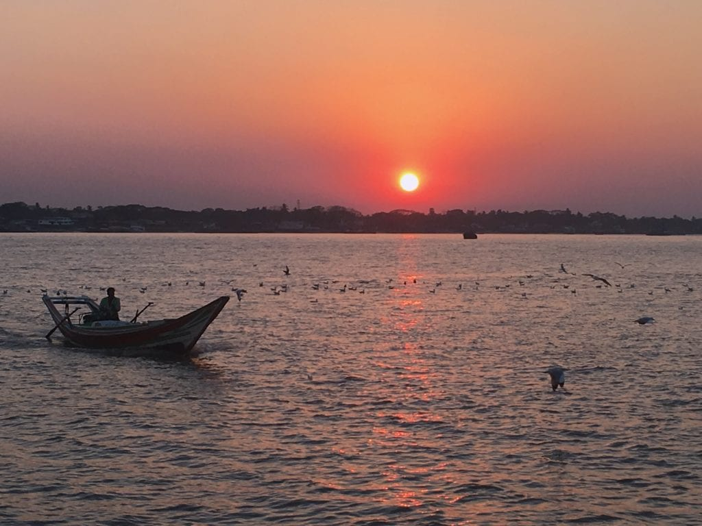 Sunset in Yangon at Botahtaung Jetty