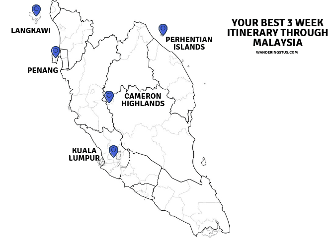 3 Week Itinerary & Route Through Malaysia