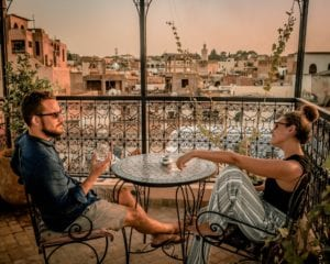 Sipping mint tea from the rooftops of Fes, Morocco