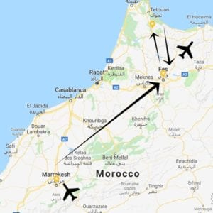 A map view of our 7 day itinerary for Morocco