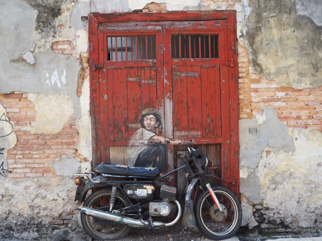 Boy on Motorcycle Mural in Georgetown Penang