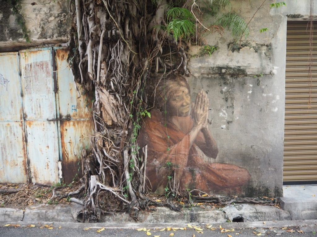 Indian Woman Praying Mural in Georgetown Penang