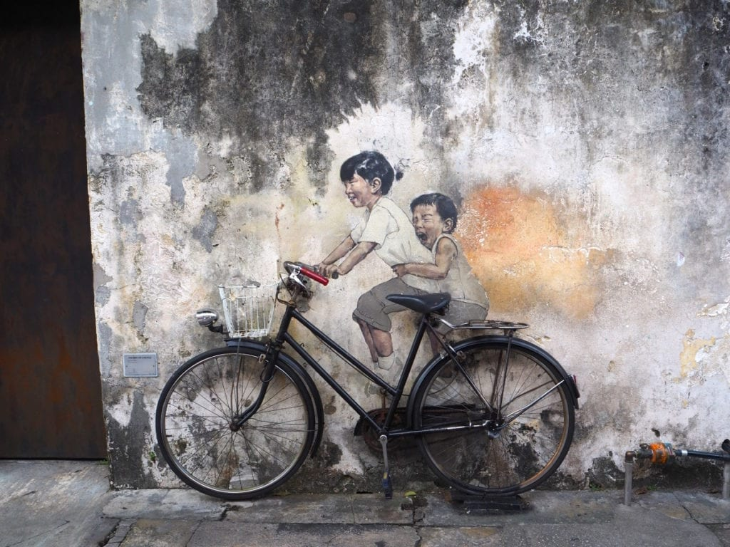 Kids on Bike Mural in Georgetown Penang