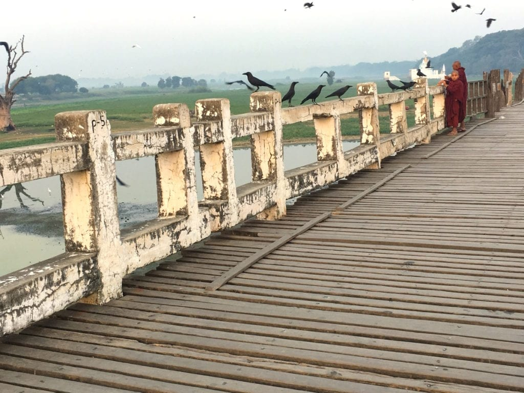 Monks on U Bein Bridge in Mandalay