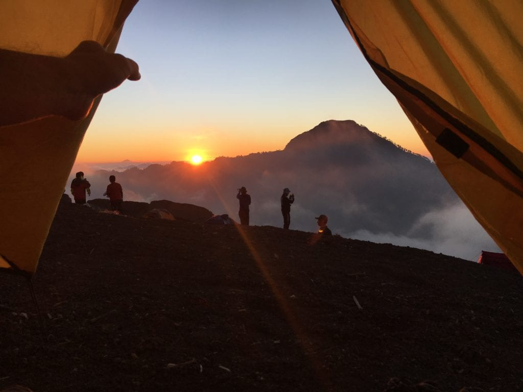 Camping overnight at Mount Rinjani