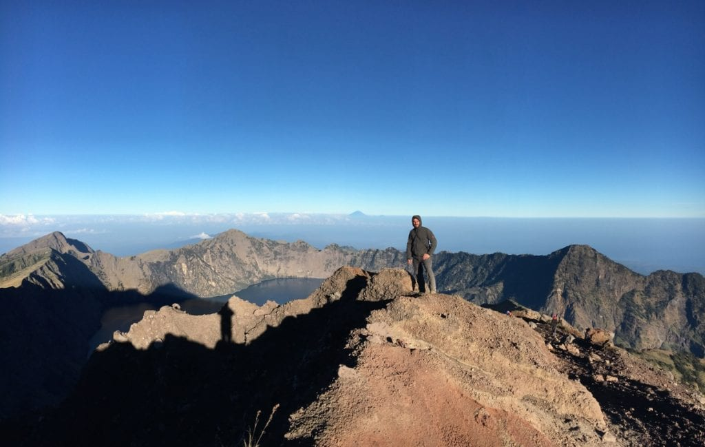 Summiting Mount Rinjani at sunrise
