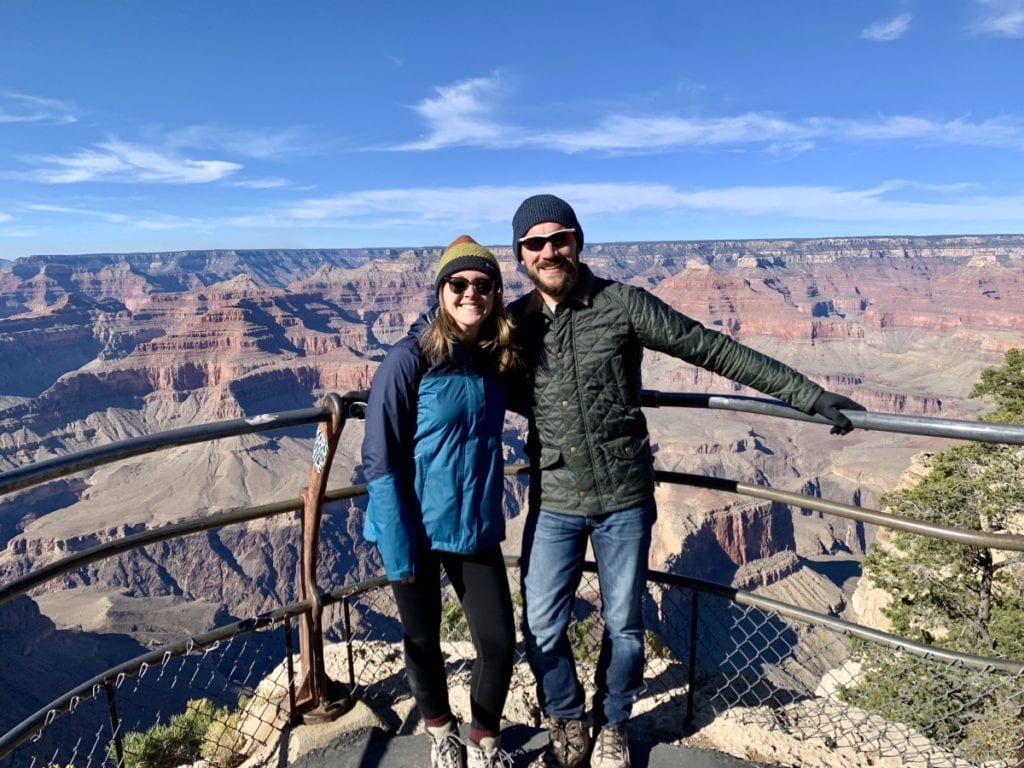 Man and Woman standing at Hopi Point Overlook