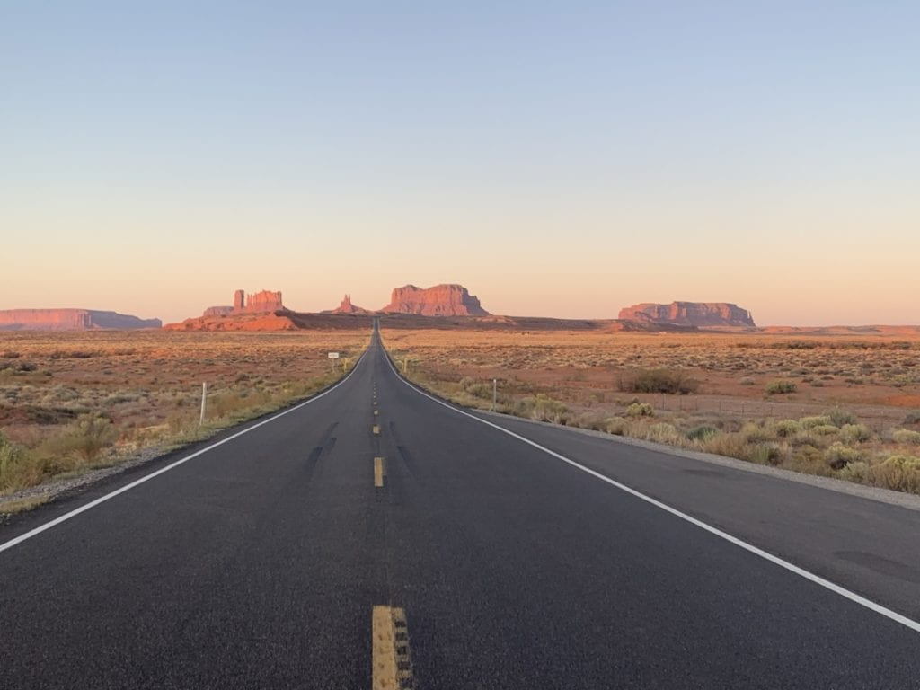 Sunrise view at Forest Gump Point Monument Valley