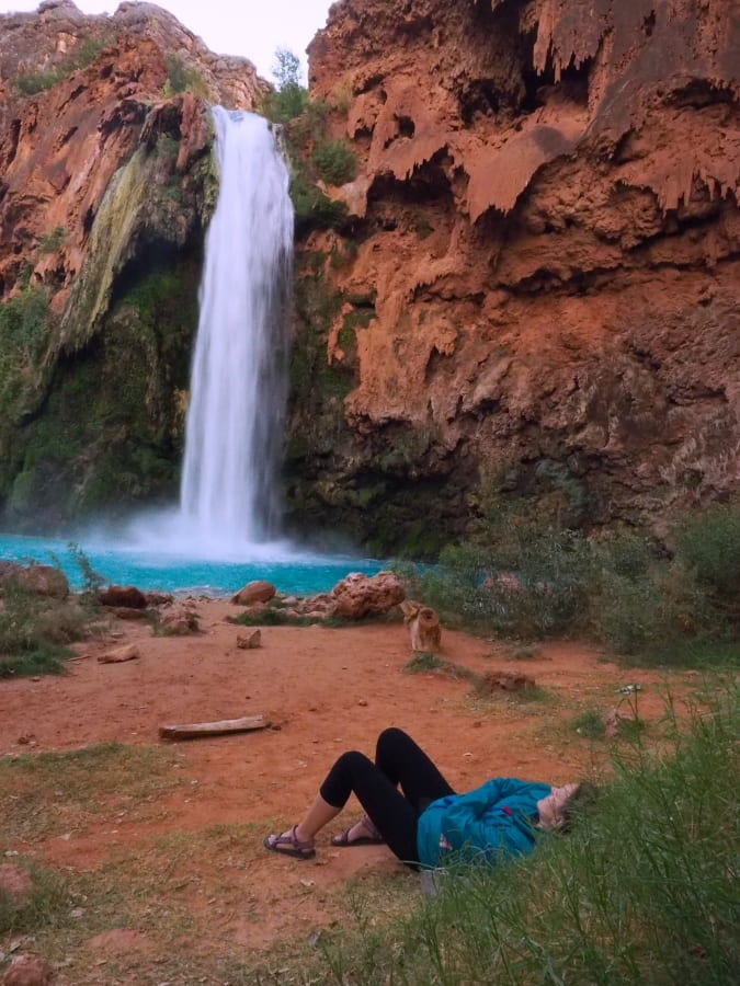 relaxing at Havasu Falls