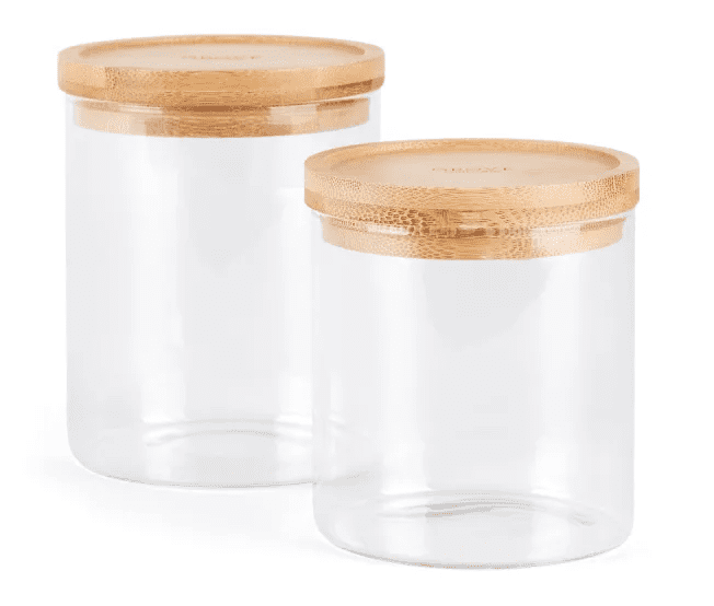 bamboo and glass bathroom canisters