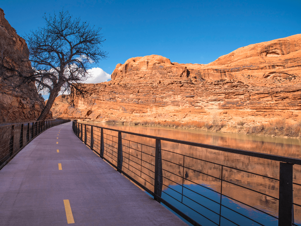 Bike path along the Colorado River in Moab