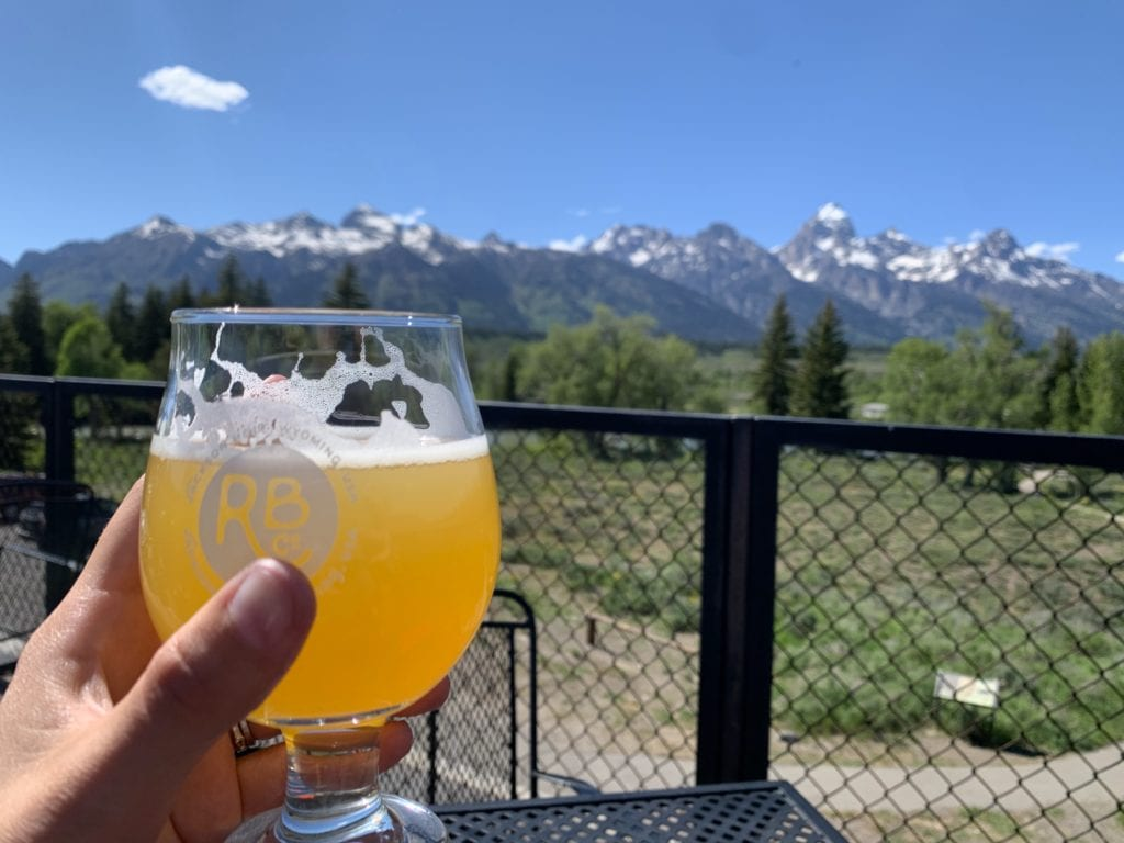Beers on Dornan's Patio with a view of Grand Tetons