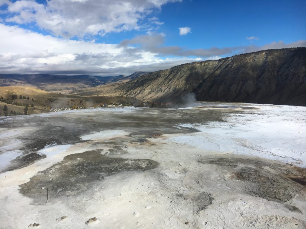 Expansive views of Mammoth Hot Springs
